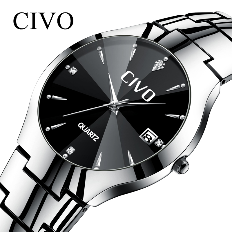 b9f302a833a CIVO Fashion Mens Watches Waterproof Date Calendar Wrist Watch For Man  Stainless Steel Strap Sports Couple