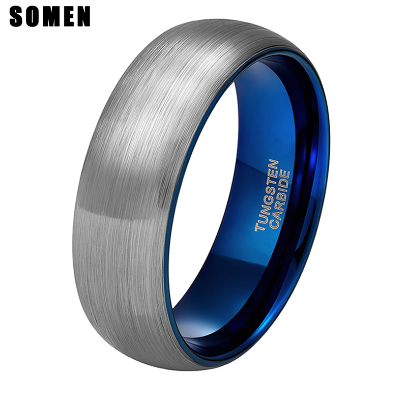 Somen Cincin Pria 8mm Sliver Brushed Tungsten Cincin Biru Inlay Pernikahan Band Engagement Cinta Cincin Fashion Pria Perhiasan Bague Homme