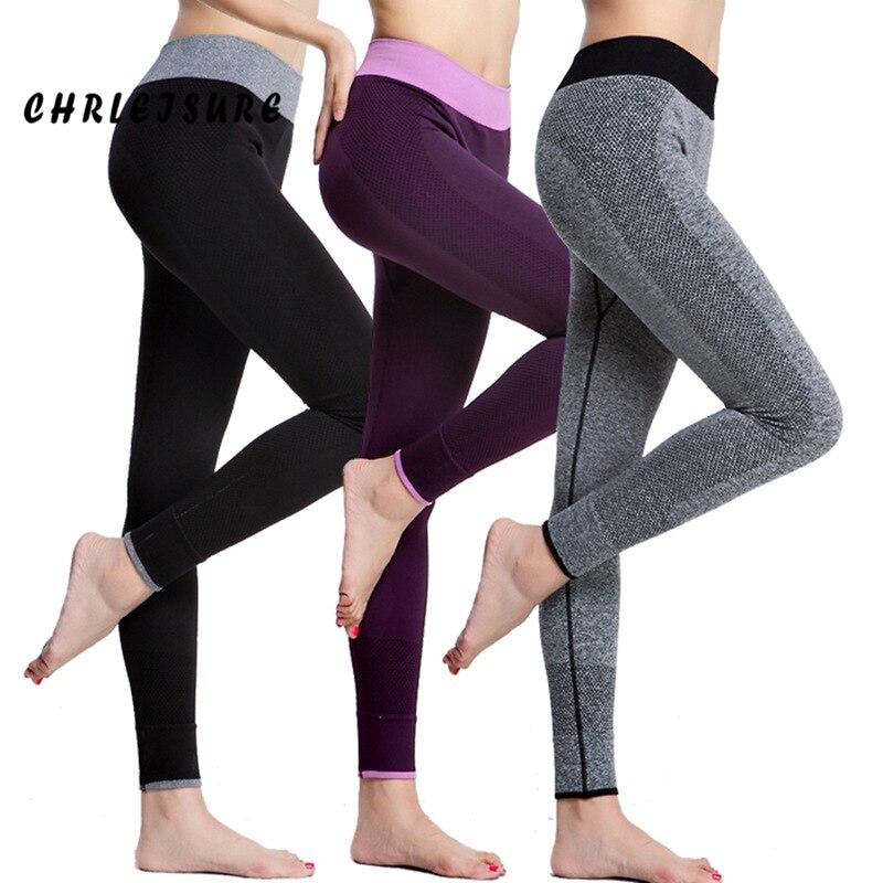 CHRLEISURE Leggings Women Spandex Slim Elastic Comfortable High Waist Super Stretch Workout Trousers Sporting Women Leggings