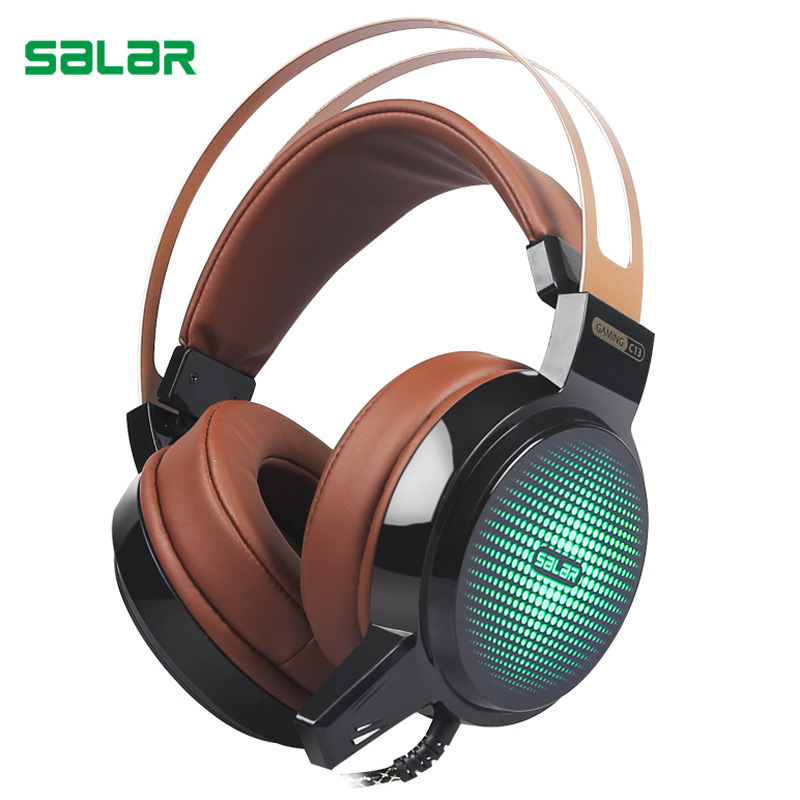 ihens5 Salar C13 Wired Gaming Headset Bass Game Headphones Best casque Gamer with Mic LED Light Headphone for Computer PC Gamer original xiberia v5 gaming headphone super bass stereo usb wired headset microphone over ear noise lsolating pc gamer headphones