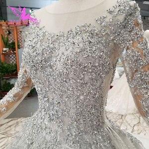 Image 2 - Aijingyuノヴァウェディングドレスクチュールブライダルガウン国チュールロング女性2021税関最新ガウンヒジャーブサテンのウェディングドレス