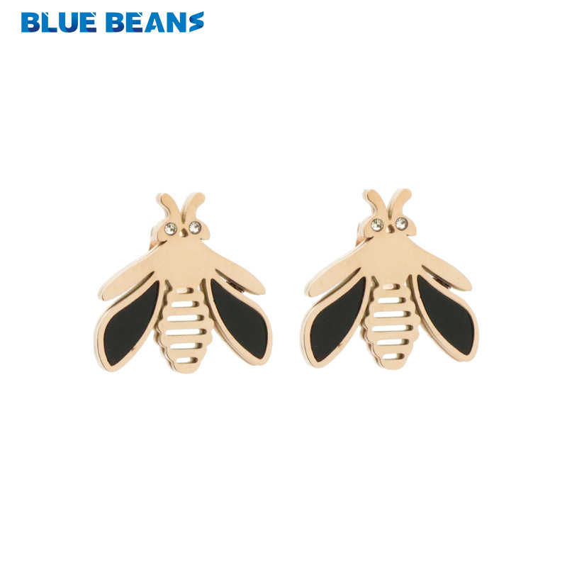 4cabe5a2f 2018 New Stainless Steel Stud Earrings Bee Earings For Girls Rose Gold  Color Crystal Brincos Small