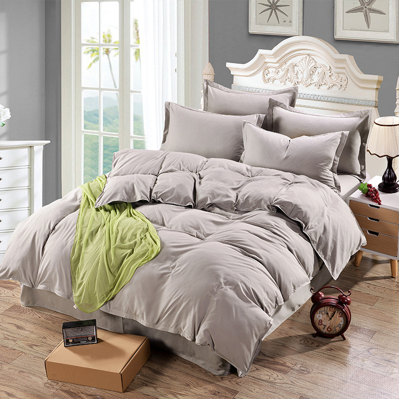 1 Piece Grey Color Duvet Cover Twin Full Queen Size Polyester Duvet Cover Solid Color For Bedroom Use XF343-2
