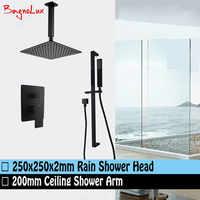 "Bagnolux Matt Black 10"" Large Square Ceiling Rain Shower Head & Sliding Bar Rail Handheld Mixer Diverter Bathroom System Set"