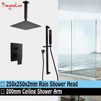 "Bagnolux Matt Black 10\"" Large Square Ceiling Rain Shower Head & Sliding Bar Rail Handheld Mixer Diverter Bathroom System Set - DISCOUNT ITEM  26 OFF Home Improvement"