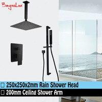 Bagnolux Matt Black 10 Large Square Ceiling Rain Shower Head & Sliding Bar Rail Handheld Mixer Diverter Bathroom System Set