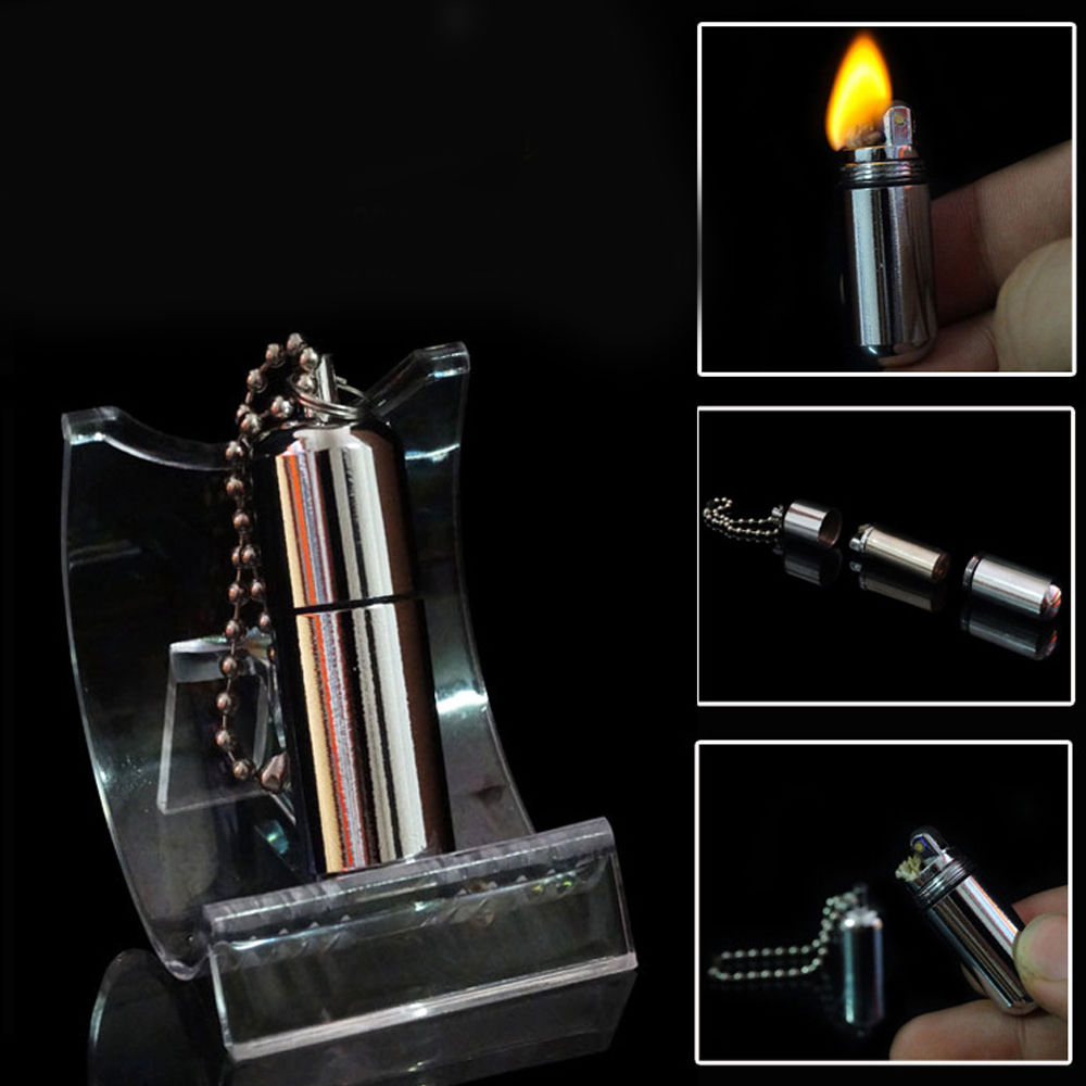 Fashion Men Women Emergency Gear Fire Stash Waterproof Mini Lighter Pendant Keychain Key Chain Key Ring Real Fire Lighter