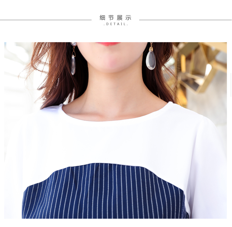 Office Lady Elegant 2PCS Pant Suit Set Women Blue Stripes Blouse And Trouser Suit Business Casual Outfits Woman Top With Pants Set Plus Size Clothings (12)
