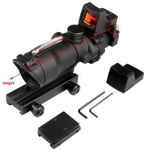 Image 2 - Szybka dostawa usługi prawdziwe zielone czerwone włókno ACOG 4X32 z RMR czerwona kropka z oznaczeniami do strzelania Tactical Hunting Rifle Scope