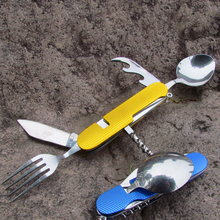 Посуда для пикника на открытом воздухе 5 в 1 с ложкой вилка нож штопор складной кемпинг Исследуйте столовые приборы для выживания