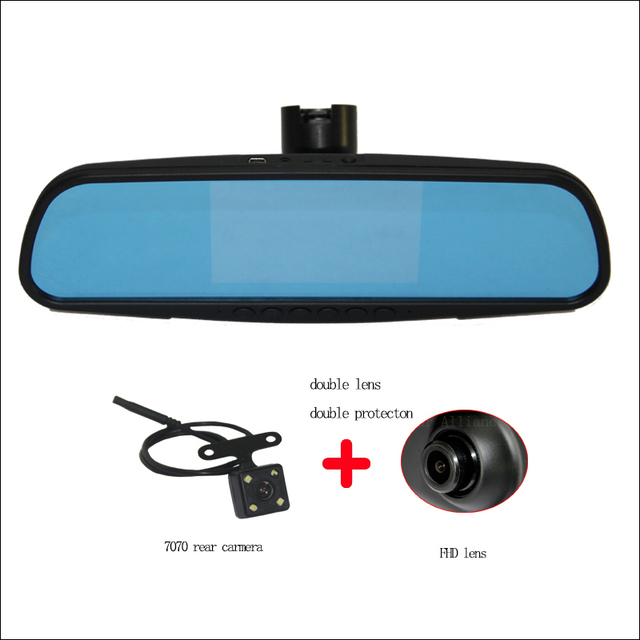 For Peugeot 3008 2015 Car Blue Screen front mirror DVR + rear view camera driving video recorder dashcam parking monitor 1080p