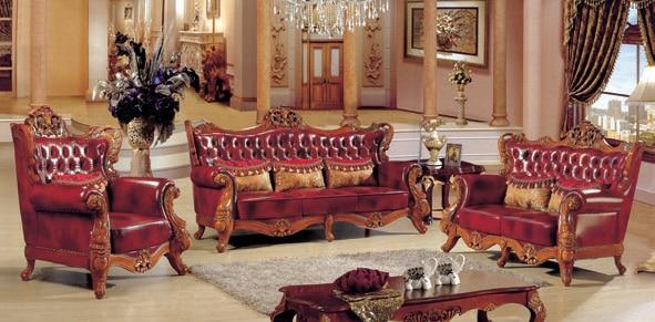 antigedades de lujo italian style red color genuine leather sofa set para sala de estar muebles