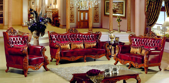 Luxury Antique Italian Style Red Color Genuine Leather Sofa Set For Living Room Furniture 3 2 1