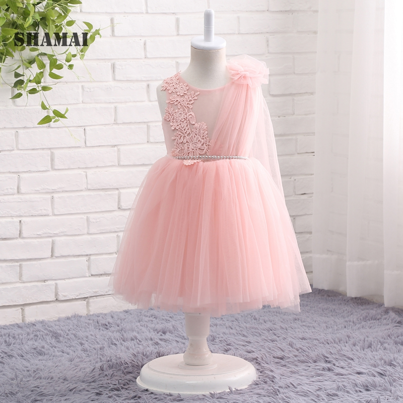 SHAMAI 2019   Flower     Girl     Dresses   For Weddings Party Ball Gown O-Neck Sleeveless   Dresses   Tulle Appliques Elegant   Dresses   For   Girls