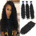 8a rainha Ali Peruanas virgens do cabelo 3 pacotes com fecho de profunda onda do cabelo humano encaracolado com fechamento profunda onda peruano com fecho