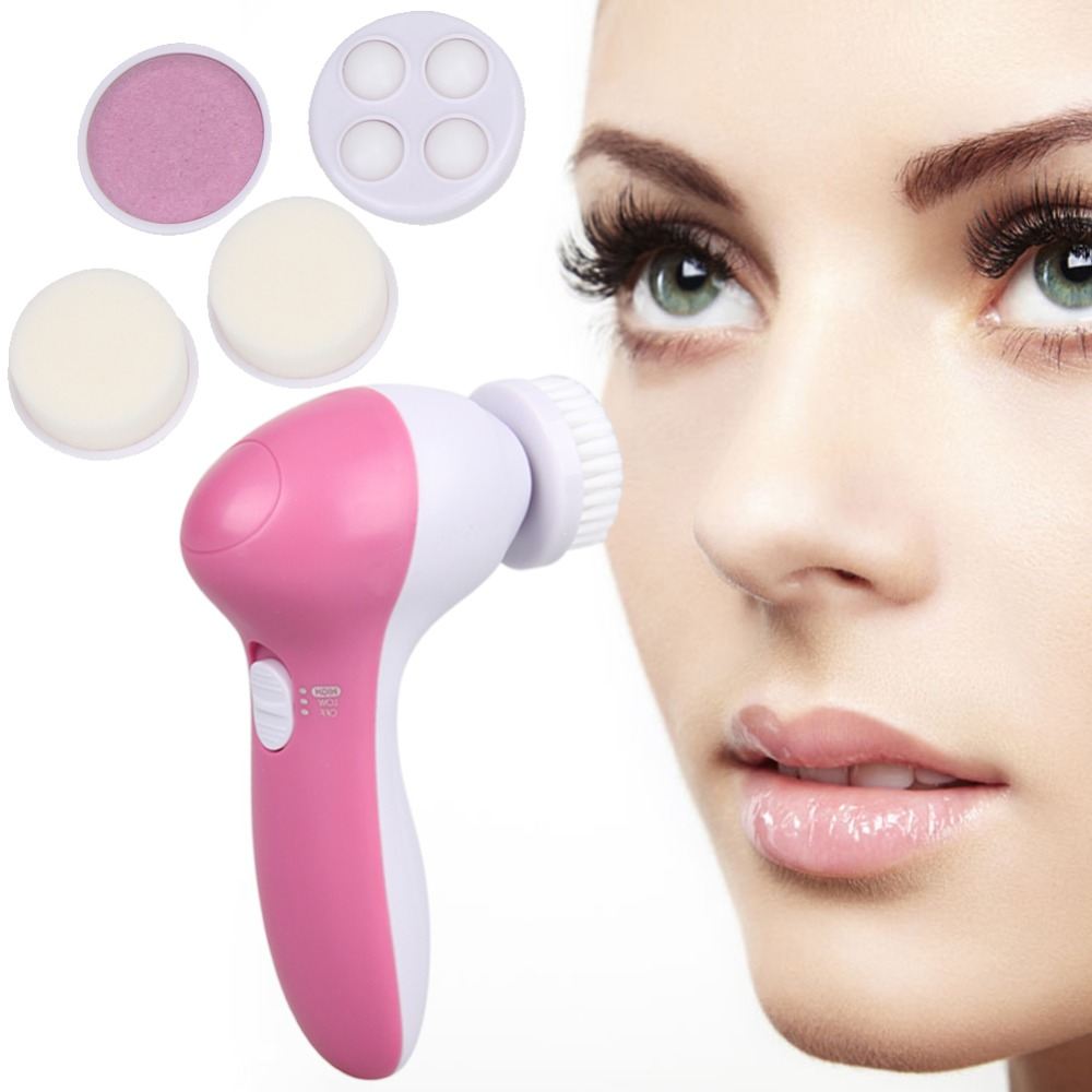 5 in 1 Pink Electric Facial Cleaner Face Skin Care Brush Massager Waterproof Spin Body Facial Pore Cleaner Face Massager 5 in 1 electric facial cleanser waterproof deep cleansing skin care washing brush soft massager face cleaner