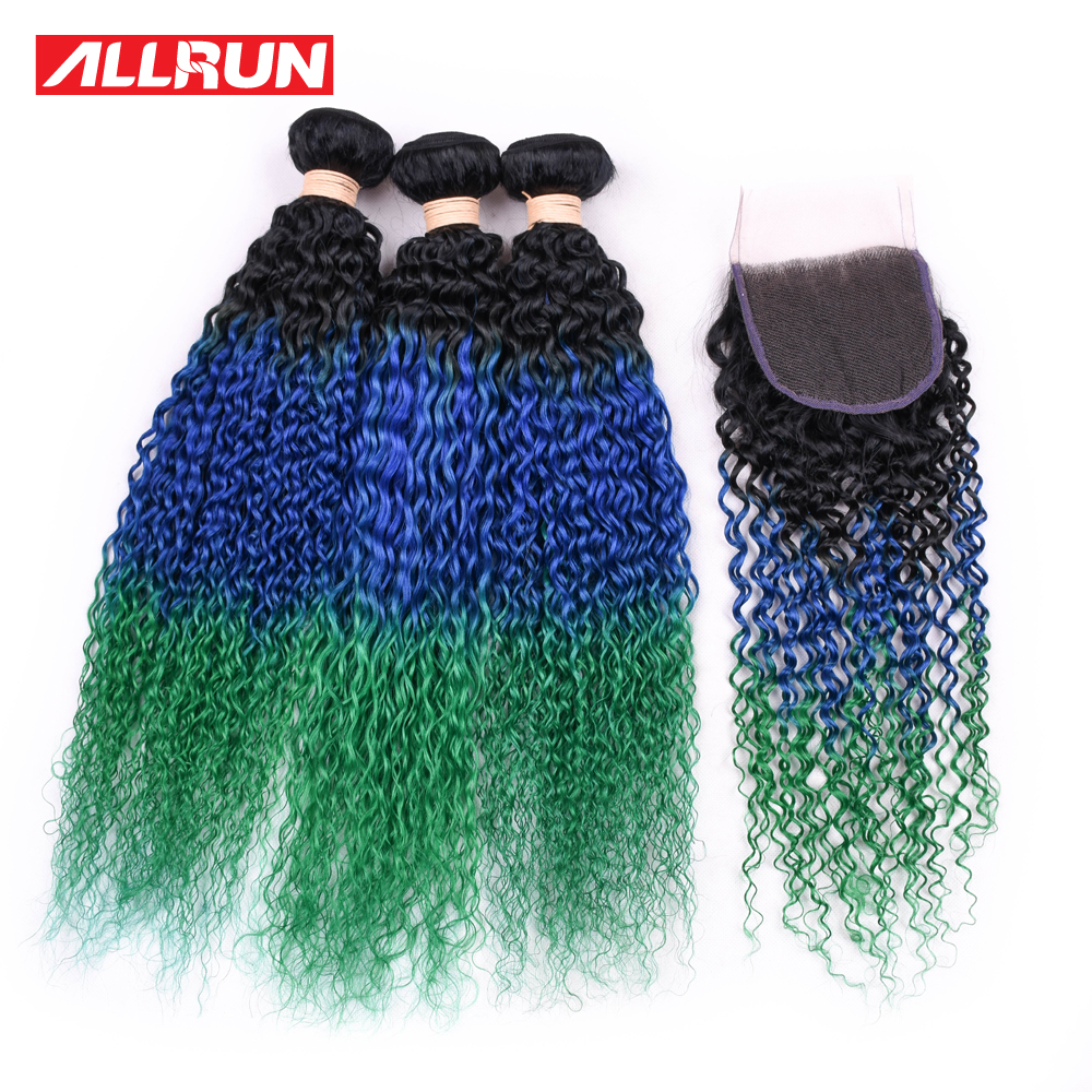 Allrun Pre-colored Kinky Curly Brazilian Hair Weave Bundles 3Pcs Tb/Blue/Green Non Remy Human Hair Bundles With Closure