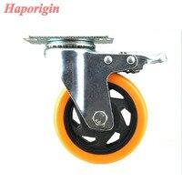 4 Swivel Flower Wheels Caster Industrial Castor Univeral Wheel Silence PVC Rolling Heavy Caster Shelf Double