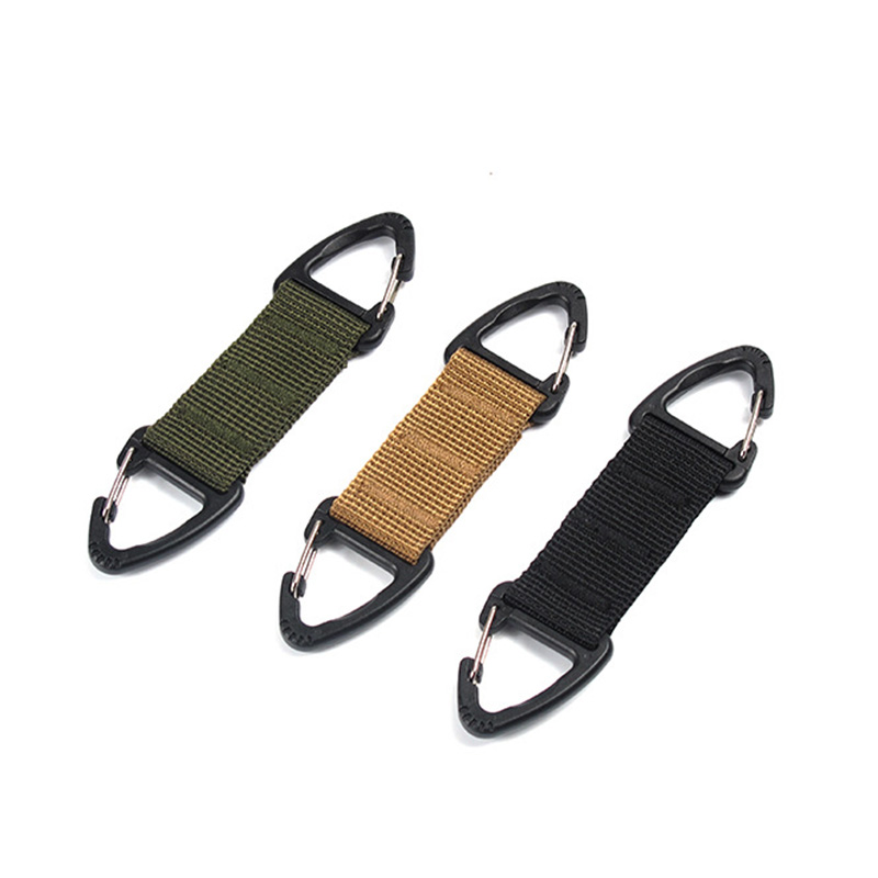 1Pc Outdoor Tactical Nylon Webbing Backpack Hang Buckle triangle buckle multi-function carabiner fast hanging keychain