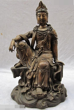 JP S1025 Tibetana Fane Bronce Antiguo dom Sit Kwan-yin Guan Yin Bodhisattva Estatua de Buda