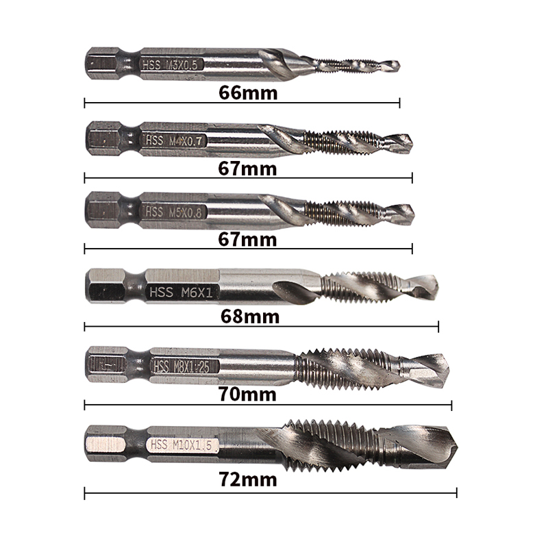 HSS Metric Hex Shank High Speed Steel Spiral Flute 2in1 Combination Drill And Tap Bit Set M3-M10 With 1/4 Hex Shank Set Of 6pcs