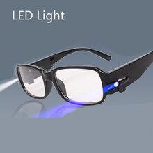 Светодиодные очки для чтения, прозрачные очки Occhiali Da Lettura+ 1,00+ 1,50+ 2,00+ 2,50+ 3,00+ 3,50+ 4,00, диоптрийные очки для ночного дальнозоркости