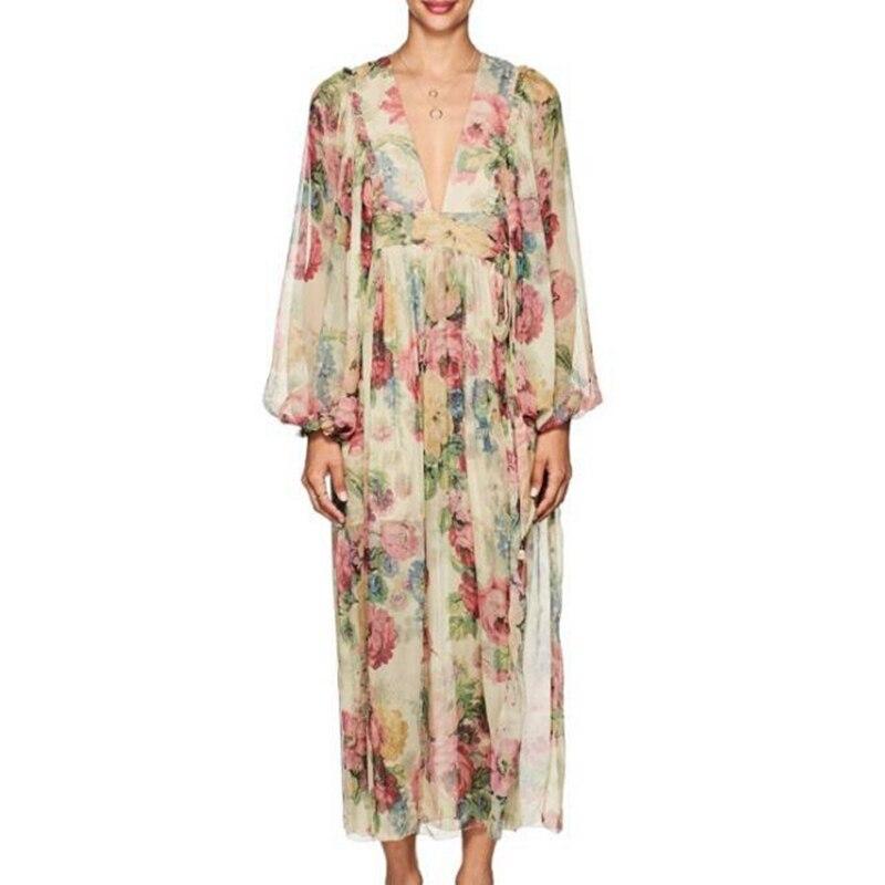Laterne Lange Mode ausschnitt Kleid Frauen Sommer V Designer Runway Strand Kleider Floral Sexy Weibliche Tiefem Gedruckt Zim Hülse wOfHqaq