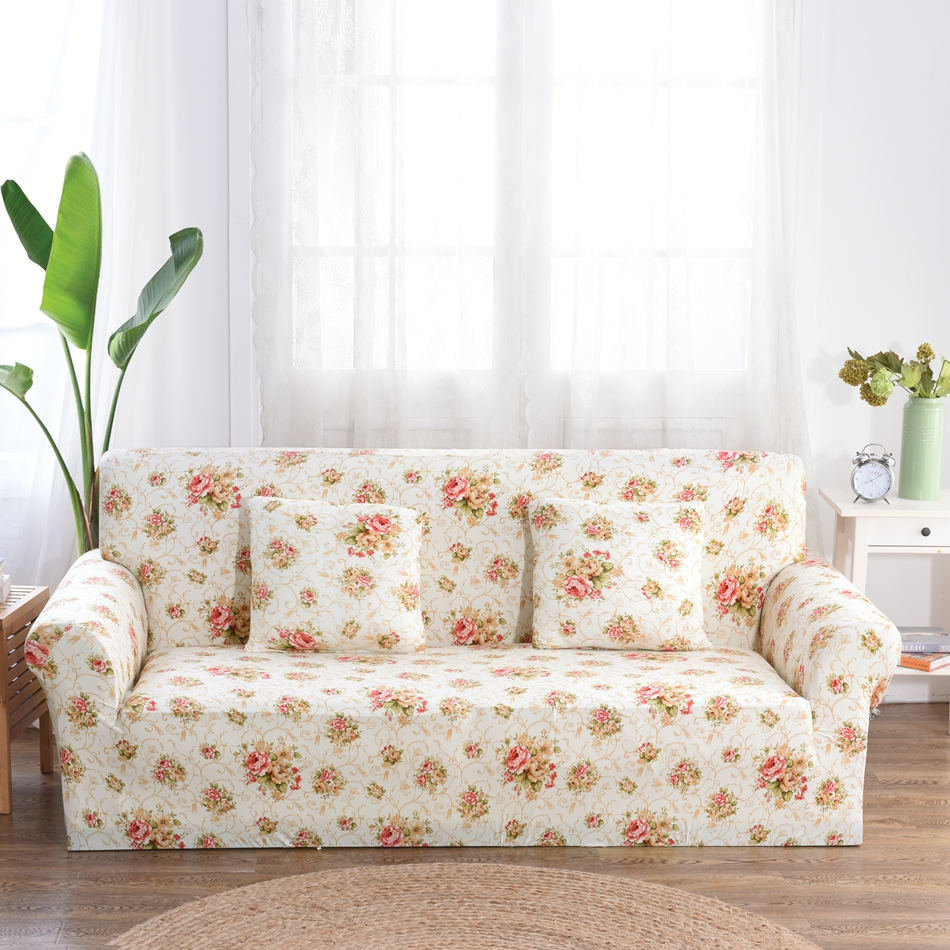 Us 23 78 59 Off Flowers Printing Couch Sofa Covers 1 2 3 4 Seat Corner Slipcovers For Living Room Universal Stretch Furniture Plush In
