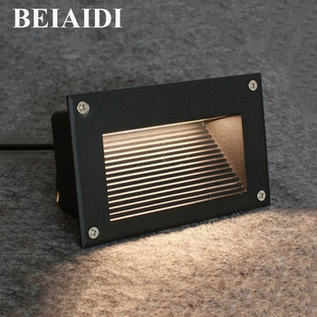 BEIAIDI 6pcs 3W Outdoor Waterproof Led Stair Step Light Recessed Wall Corner Light LED Footlight Landscape Pathway Step Light