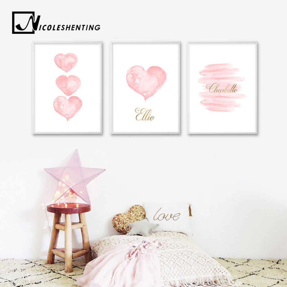 Watercolor Pink Heart Wall Art Canvas Print Personalized Name Custom Poster Nursery Painting Picture Kids Bedroom Decoration