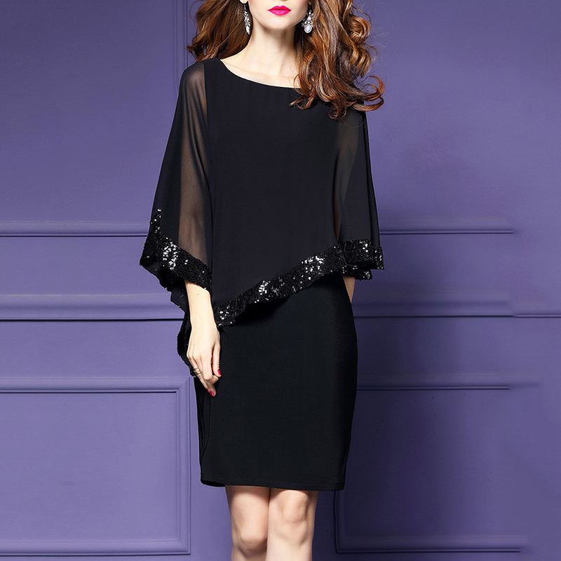 2018 Women Oversized Dress Slit Sleeve Sequins Tulle Dress Evening Party Dress