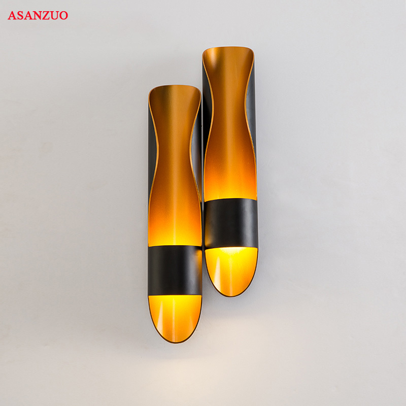 Nordic creative personality Wall Light for Restaurant Lamp Aluminum Pipe Golden Single Head Double heads bedroom bedside lightsNordic creative personality Wall Light for Restaurant Lamp Aluminum Pipe Golden Single Head Double heads bedroom bedside lights