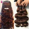 Say me cabelo onda do corpo malaio 3 pacotes 7a castanho claro Maylasian Onda Do Corpo Virgem Do Cabelo 4 # Marrom Escuro Extensões de Cabelo Humano