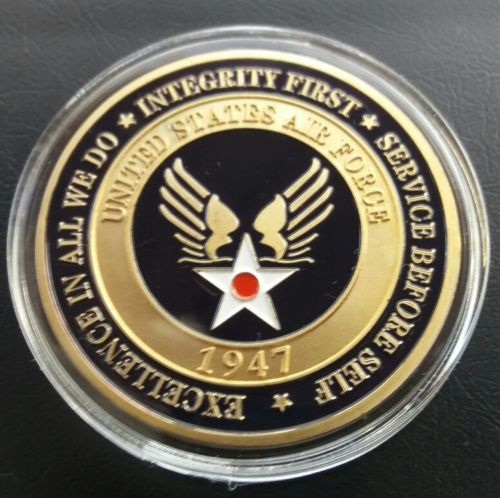 US $13 5 |USAF CHALLENGE COIN UNITED STATES AIR FORCE EXCELLENCE IN ALL WE  DO,INTEGRITY FIRST SERVICE BEFORE SELF-in Non-currency Coins from Home &