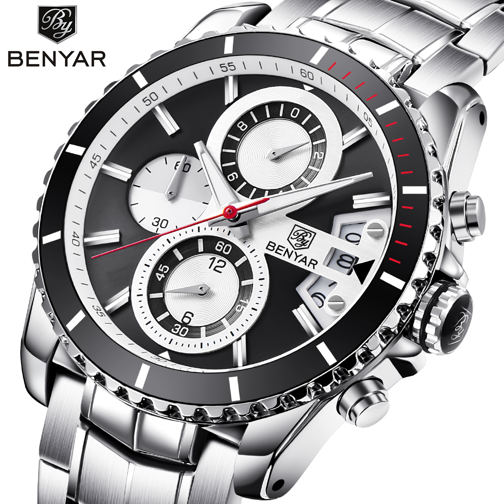 Top Brand Luxury BENYAR Stainless Steel Waterproof Chronograph Sport Watches Quartz Military Men Watch Male Clock reloj hombre цена