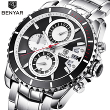 купить Top Brand Luxury BENYAR Stainless Steel Waterproof Chronograph Sport Watches Quartz Military Men Watch Male Clock reloj hombre по цене 3506.01 рублей