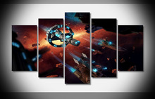 spaceship Air warships game space galaxy Canvas Painting Wall Print Art 5 Panel Canvas Print Poster Child Room Decor