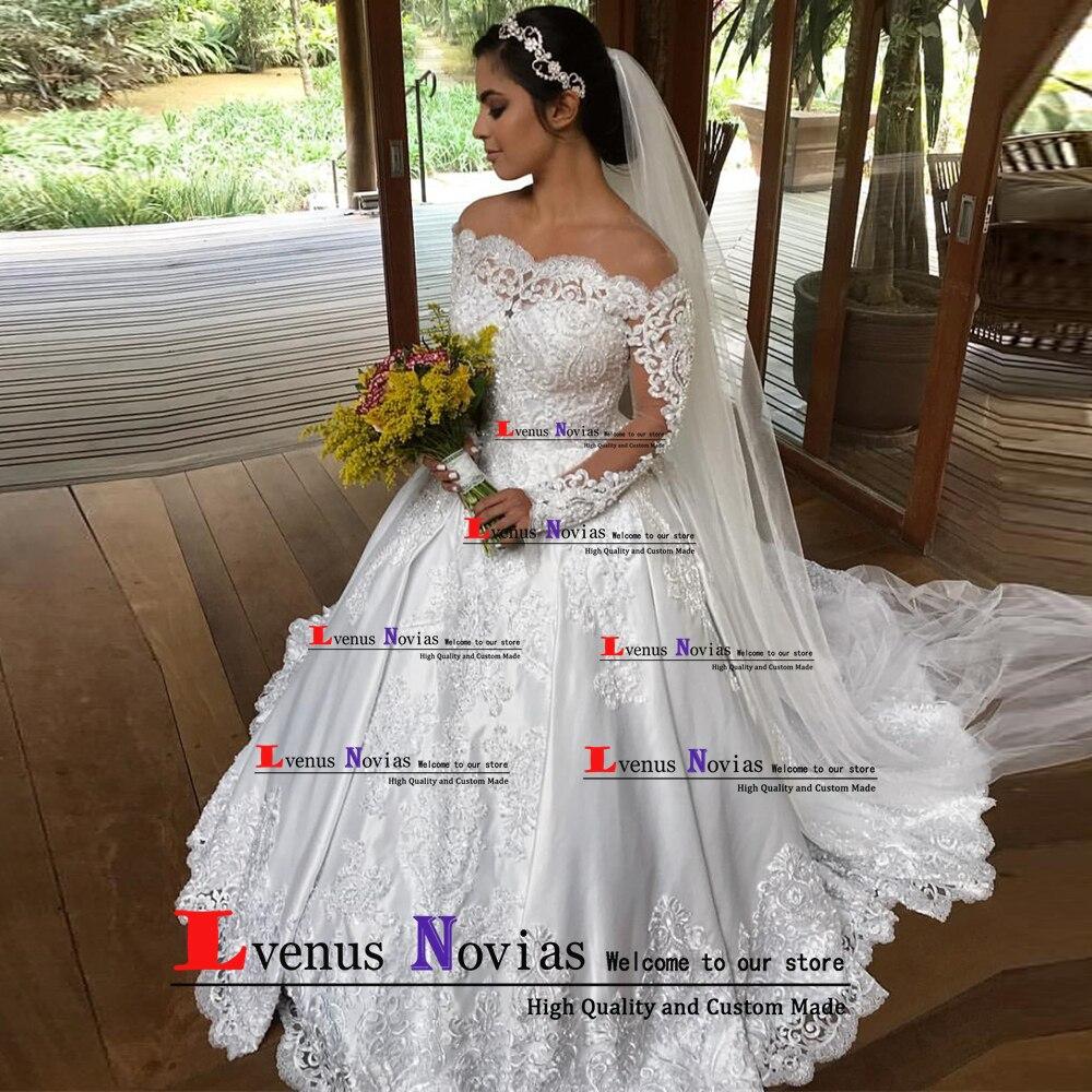Satin Wedding Dress 2019: Robes De Mariee Vintage Satin Wedding Dress 2019 Bride