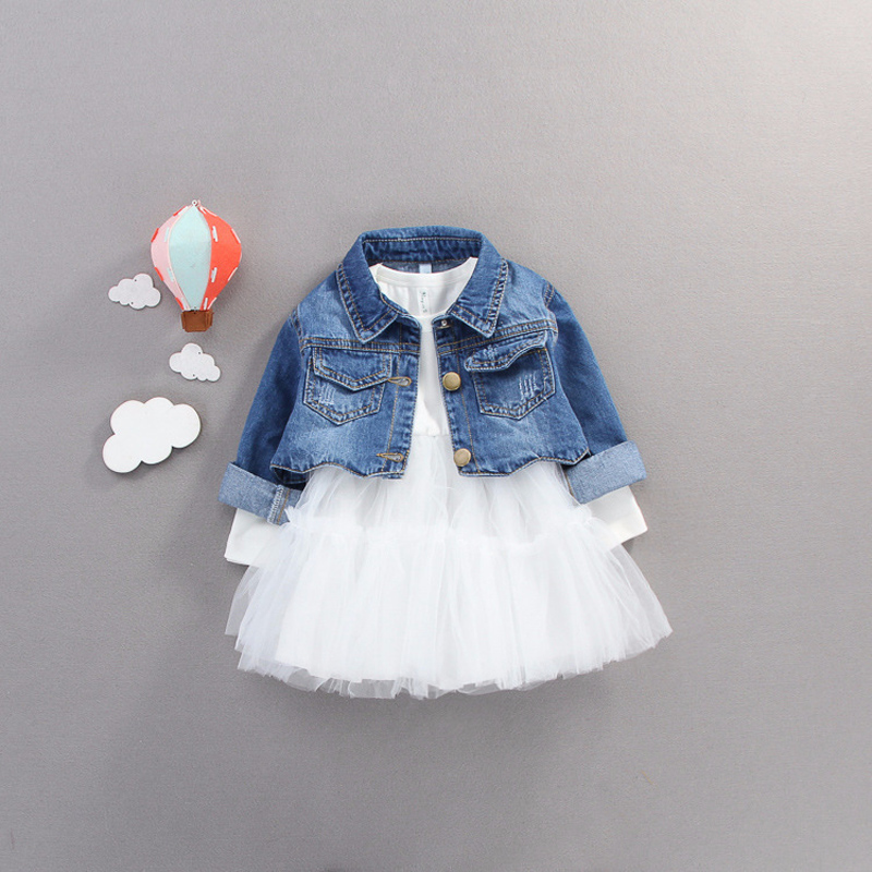 >Fall infant <font><b>Baby</b></font> <font><b>Girls</b></font> <font><b>clothes</b></font> outfits casual sets denim jacket + tutu dress suit for newborn <font><b>baby</b></font> <font><b>girls</b></font> clothing birthday sets