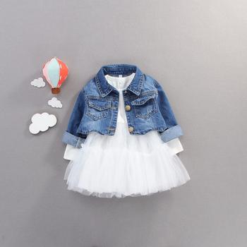 Spadek niemowlę dziewczynek ubrania stroje zestawy na co dzień kurtka dżinsowa + strój tutu dla noworodków dziewczynek odzież zestawy urodzinowe tanie i dobre opinie BarbieRabbit COTTON Poliester 7-12m 13-24m 25-36m CN (pochodzenie) Kobiet Skręcić w dół kołnierz Pojedyncze piersi