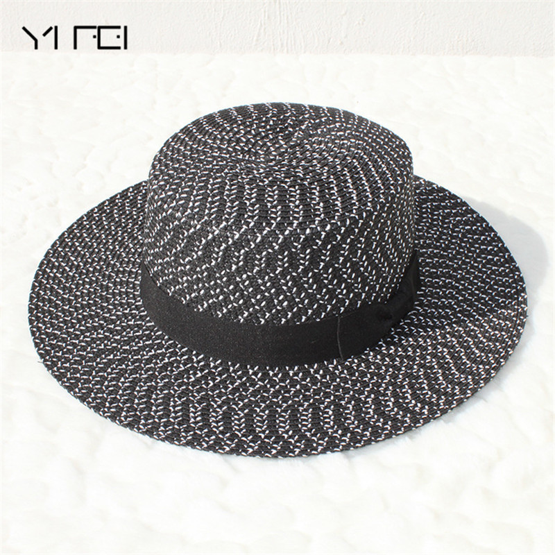 2018 Brand Black and white New Flat Top Straw Hat jazz Hat Men Boater Hats  Bone feminino Women Summer Beach Sun hats c6ed1d7160d