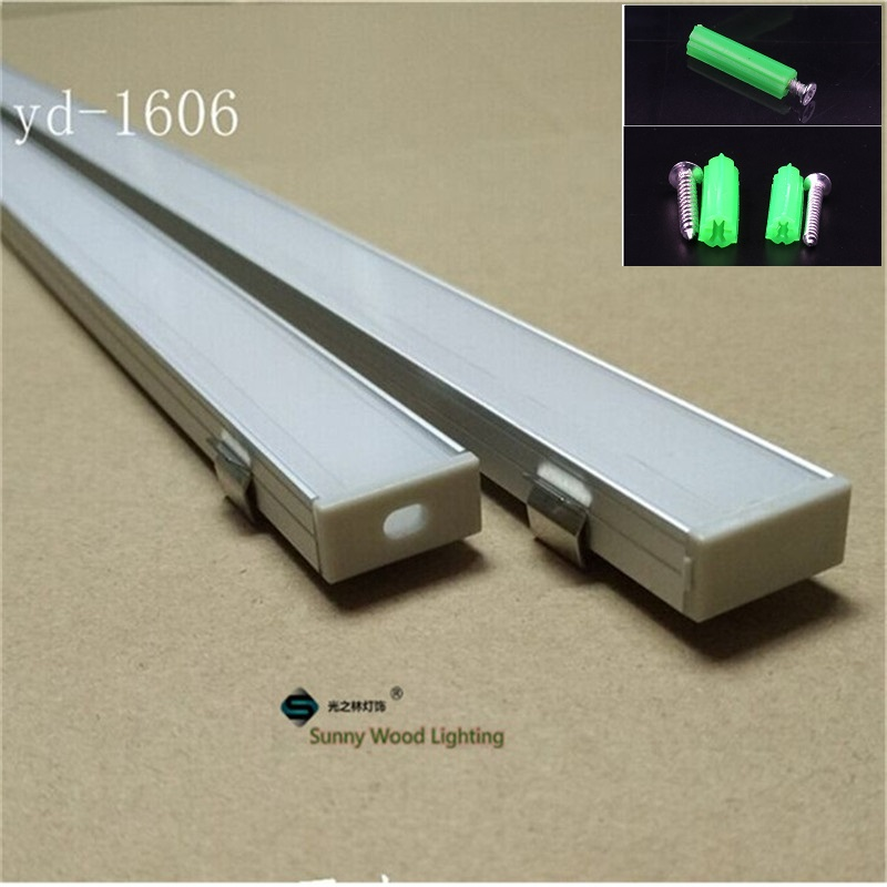 5-30pcs/lot 1meter aluminium profile for 5050 double row led strip aluminium base for led bar light of 16mm pcb with fittings free shipping super wide u shape aluminum anodized profile for led strips with cover and end caps for dual row led strip