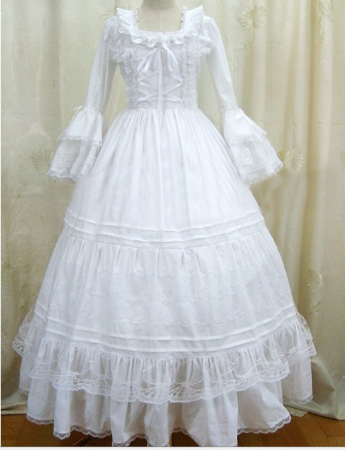 White Long Sleeve Victorian Dresses Snow Princess Gothic Gowns Civil War Southern Belle Ball