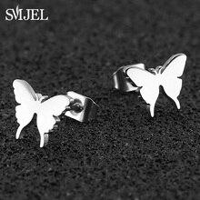 SMJEL Stainless Steel Butterfly Earrings Studs Jewelry Lovely Women Earings Animal Child Frosted Cartilage Ear 2019