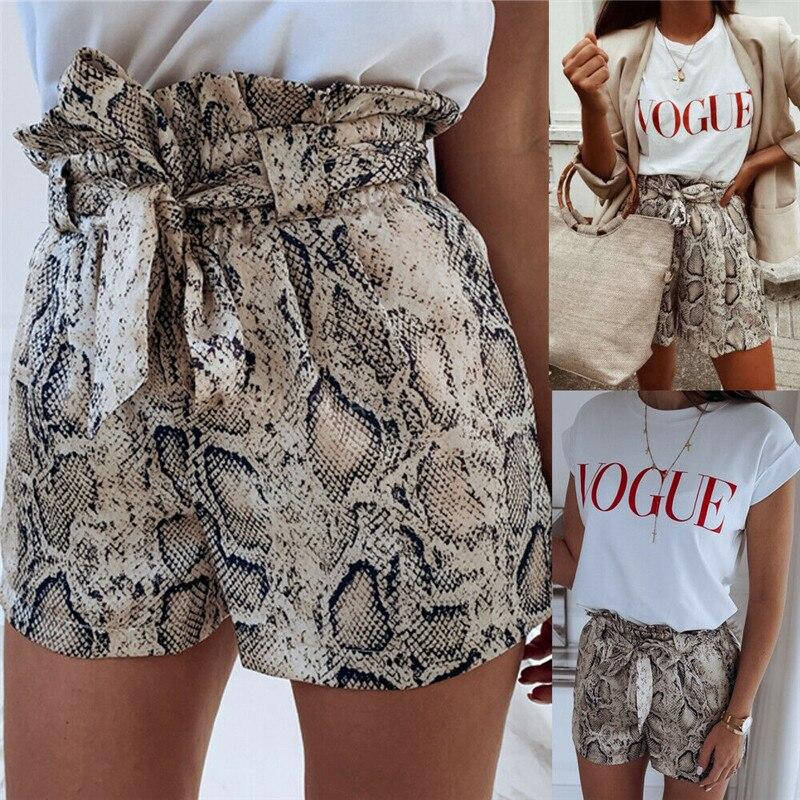 HIRIGIN, новинка 2020, женские модные летние шорты с высокой талией и змеиным принтом, повседневные пляжные шорты, популярные женские шорты
