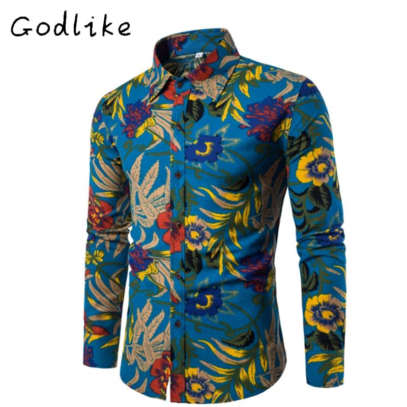 Camisa de manga larga de ocio de la moda de los hombres de GODLIKE, - Ropa de hombre