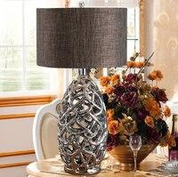 Современные Полые серебро с гальваническим Керамика настольная лампа AC 90 220 В прикроватной тумбочке Спальня света творческий настольная ла