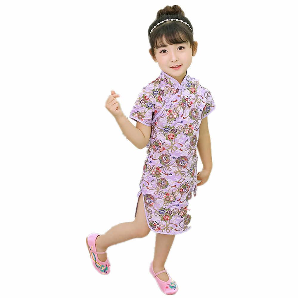 女の赤ちゃんドレス綿 100% 子供服中国新年袍チャイナ衣装女の子スリムドレスウェディングドレス 2- 16 トップ