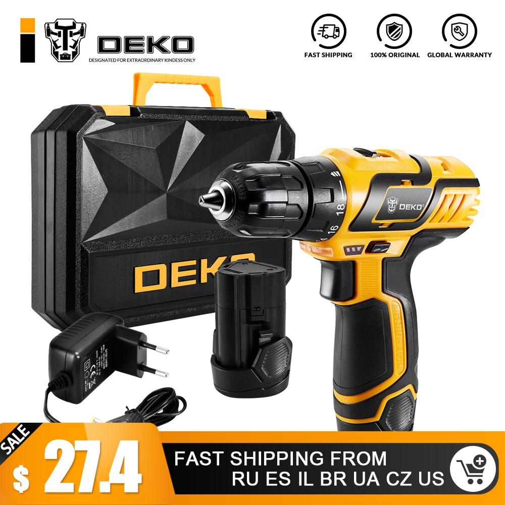 Deko Gcd10.8du3 10.8-volt Electric Screwdriver Cordless Drill Mini Wireless Power Driver Dc Lithium-ion Battery 10mm 2-speed Power Tools Electric Screwdrivers
