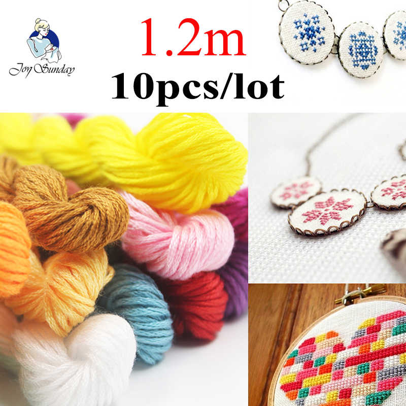 JOY SUNDAY,Multicolors 10Pcs/lot 1.2m length  DMC Threads Cross Stitch Cotton Embroidery Threads For DIY Handmade Accessories